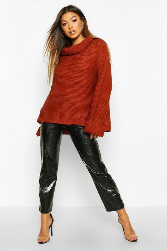 Cowl Neck Jumper With Split Side Seam