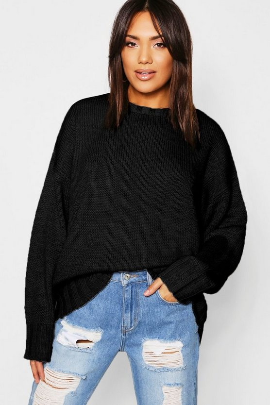 Womens Black Oversized Jumper