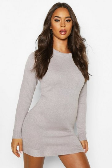 Silver Crew Neck Long Sleeve Dress