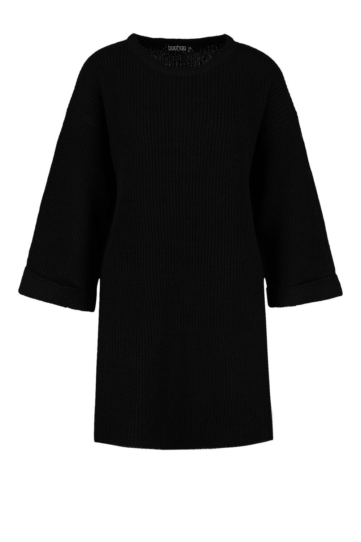 jersey ancha Vestido con negro ancho de manga OnwSqBx5S