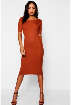 Womens Camel Ribbed Knit Midi Dress With Scoop Neck