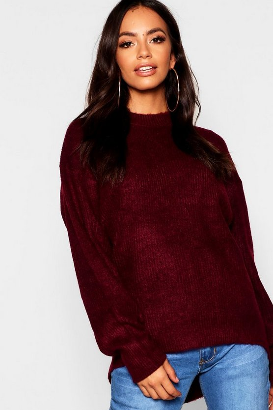 Oversized Rib Knit Jumper With Balloon Sleeve