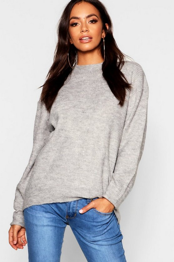 Oversized Rib Knit Sweater With Balloon Sleeve