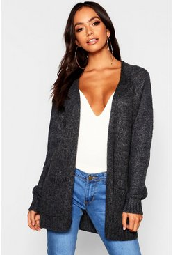 Womens Charcoal Soft Knit Cardigan
