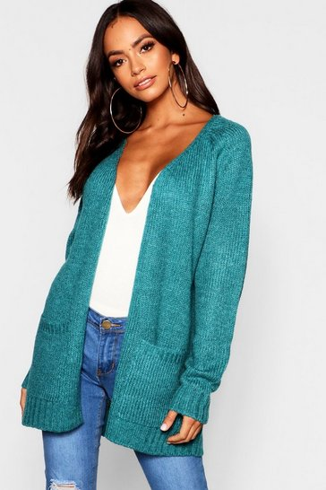 Womens Teal Soft Knit Cardigan