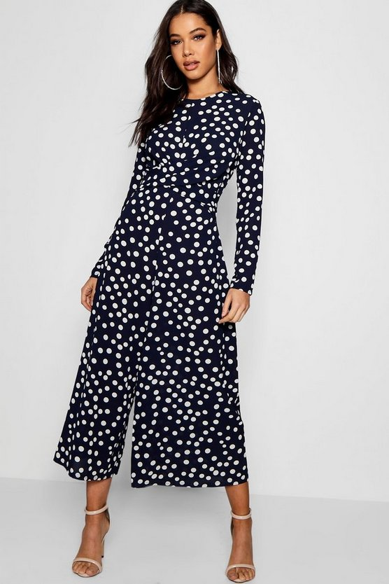 Womens Twist Front Polka Dot Jumpsuit