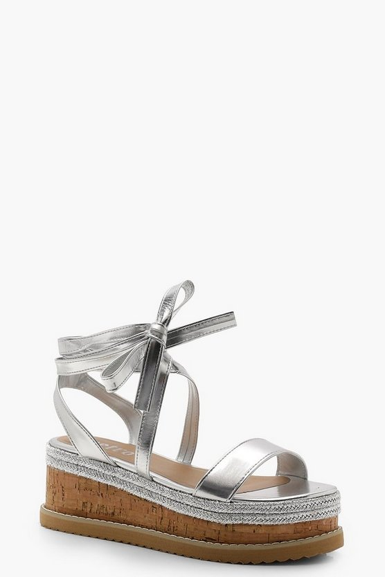 Flatform Espadrille Tie Up Sandals, Silver, ЖЕНСКОЕ
