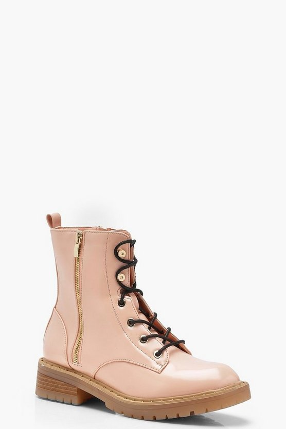 Patent Lace Up Hiker Boots