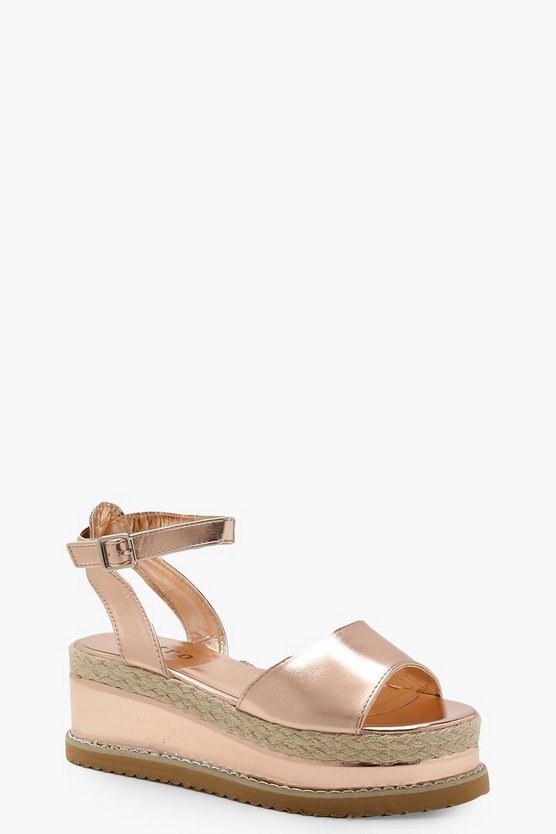 Womens Rose gold Two Part Flatform Sandals