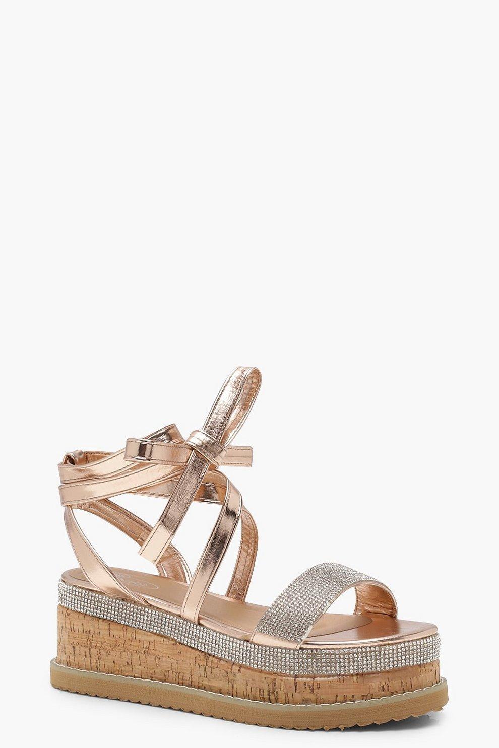 9d47722f13ec Womens Rose gold Tia Diamante Flatform Espadrille Tie Up Sandals