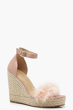 Zoe Feather Trim Espadrille Wedges