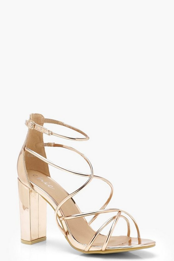 Womens Rose gold Strappy Block Heel Sandals
