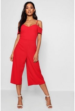Womens Red Open Shoulder Culotte Jumpsuit