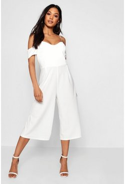 White Open Shoulder Culotte Jumpsuit