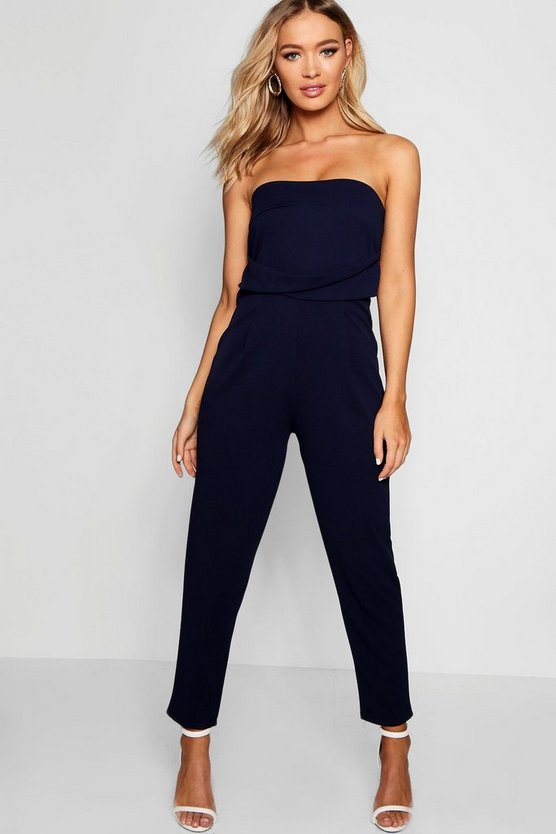 Womens Blue Bandeau Slim Leg Jumpsuit