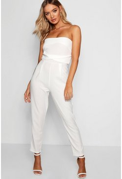 Womens White Bandeau Slim Leg Jumpsuit