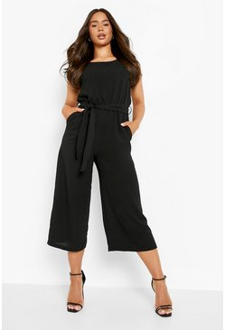 Womens Black Woven Sleeveless Culotte Jumpsuit