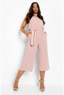 Womens Rose Woven Sleeveless Culotte Jumpsuit