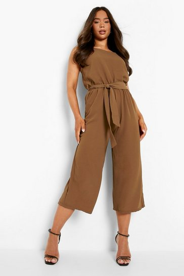 Tobacco Woven Sleeveless Culotte Jumpsuit