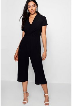 Womens Black Plunge Twist Capped Sleeve Jumpsuit
