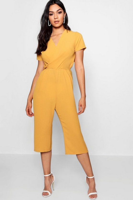 Womens Mustard Plunge Twist Capped Sleeve Jumpsuit