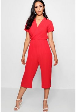 Womens Red Plunge Twist Capped Sleeve Jumpsuit