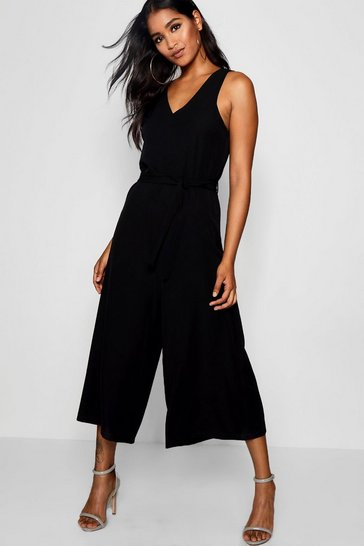 Womens Black Sleevless Minimal Jumpsuit