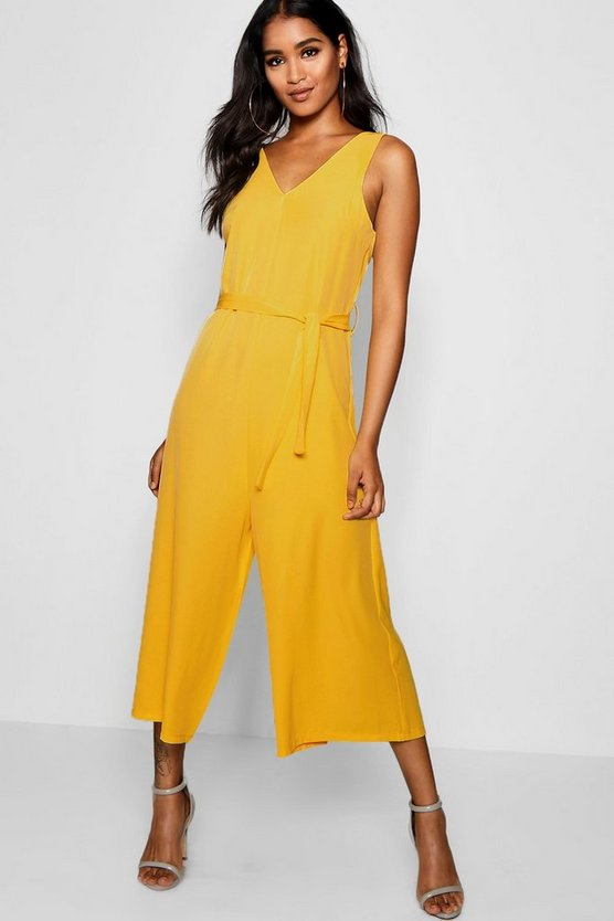 Womens Yellow Sleevless Minimal Jumpsuit