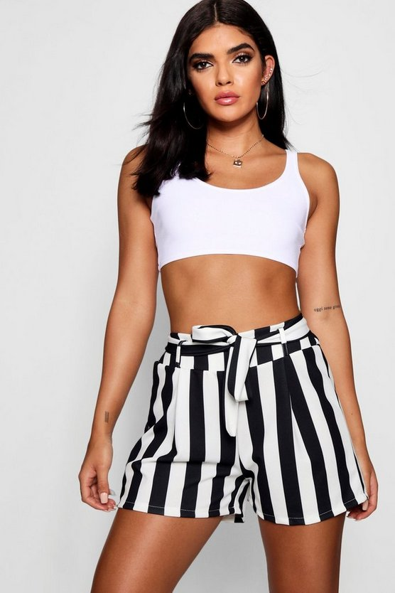 Lindsay Candy Stripe Belted Shorts, Black, ЖЕНСКОЕ