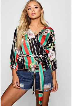 Womens Black Printed Kimono Wrap Tie Belt Top