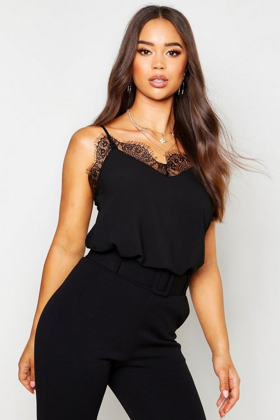 Black Lace Trim Strappy Cami Top