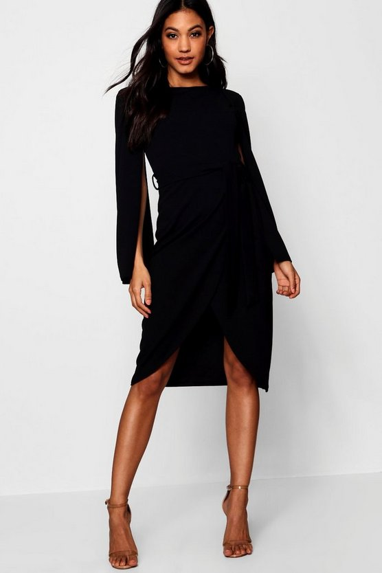 Womens Black Cape Tailored Belted Midi Dress