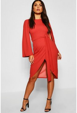 Womens Rust Cape Tailored Belted Midi Dress