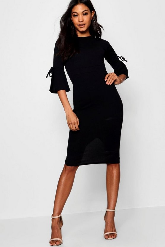 Womens Black Flute Tie Sleeve Midi Dress