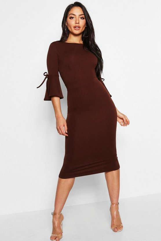 Flute Tie Sleeve Midi Dress