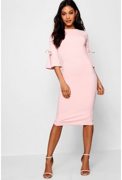 Womens Pink Flute Tie Sleeve Midi Dress