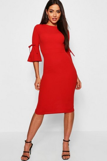 Red Flute Tie Sleeve Midi Dress