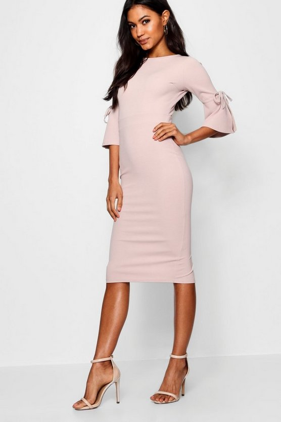 Womens Stone Flute Tie Sleeve Midi Dress