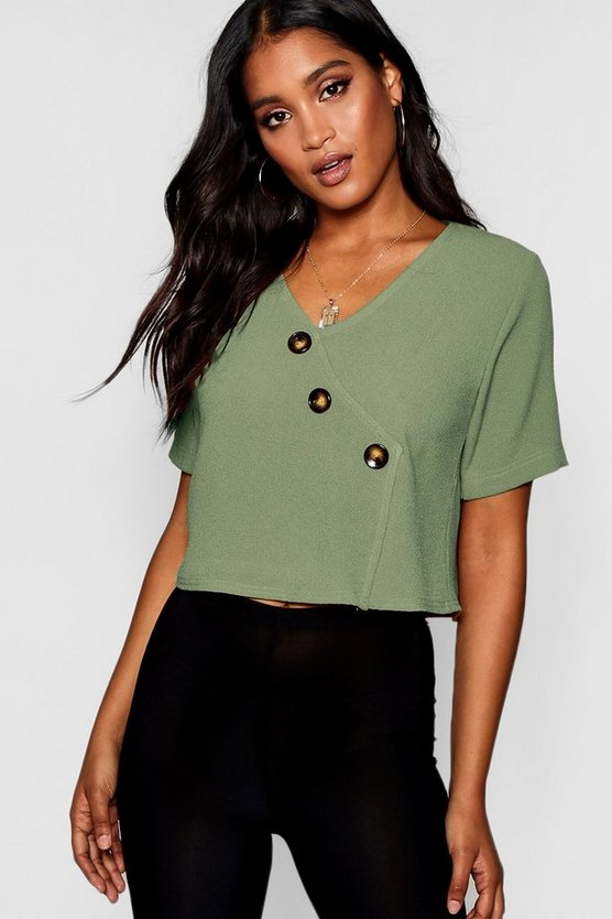 Womens Khaki Button Detail Short Sleeve Blouse