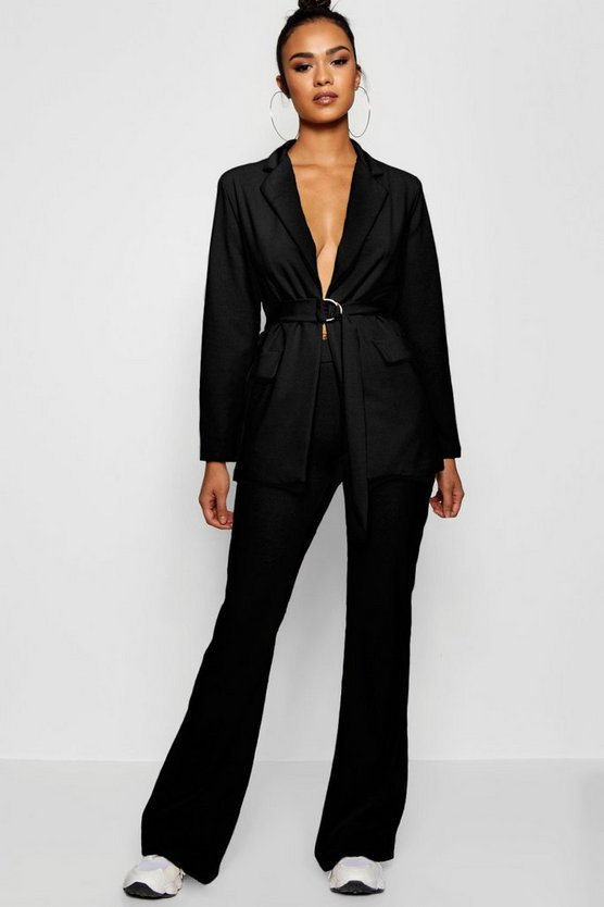 Womens Black Tailored Flared Trouser