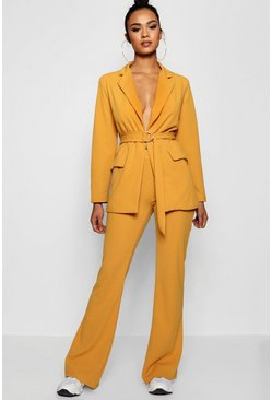 Womens Mustard Tailored Flared Trouser