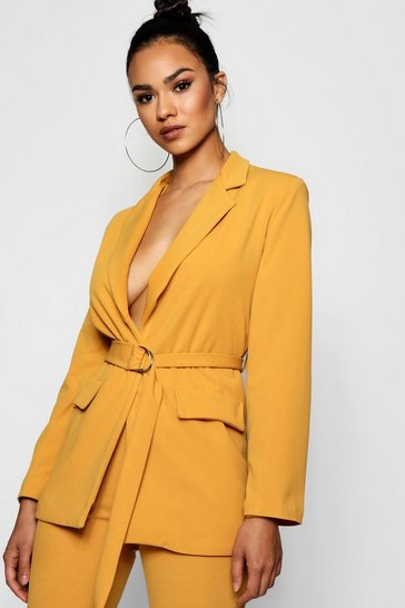 Mustard D-Ring Pocket Detail Longline Blazer