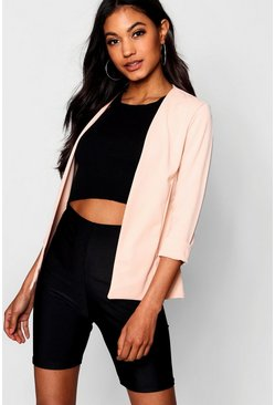 Womens Bright pink Collarless Longline Blazer