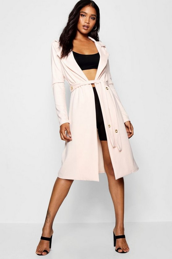 Collared Eyelet Belt Duster Jacket