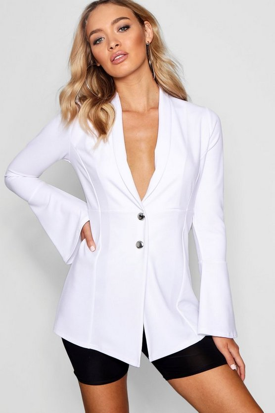 Button Detail Flare Cuff Blazer
