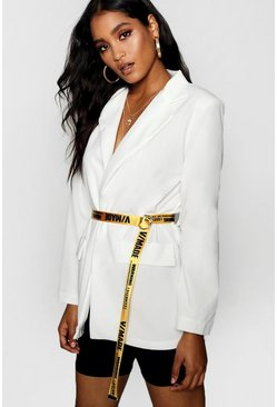 Womens White Tape Belted Blazer