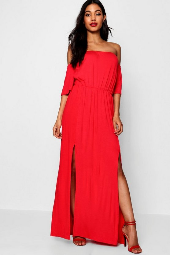 Whitney Off The Shoulder Split Maxi Dress