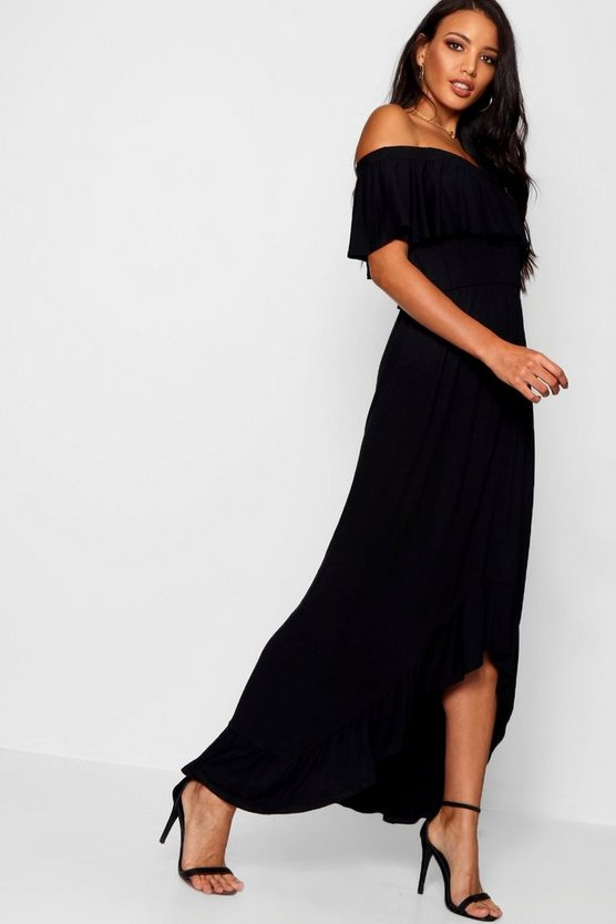 Womens Black Off The Shoulder Dipped Hem Maxi Dress