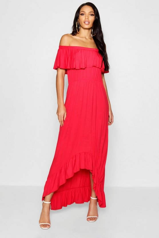 Off The Shoulder Dipped Hem Maxi Dress