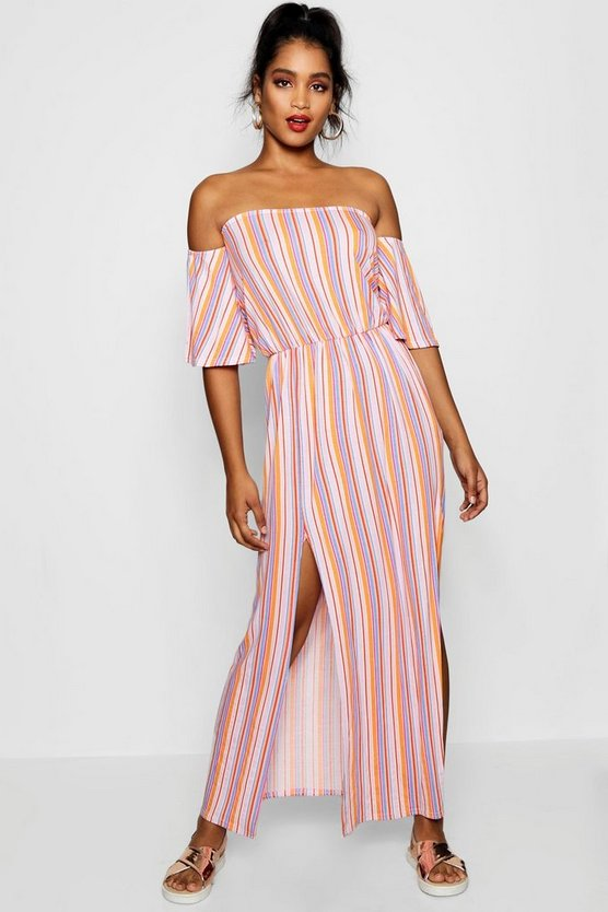 Off The Shoulder Striped Split Maxi Dress